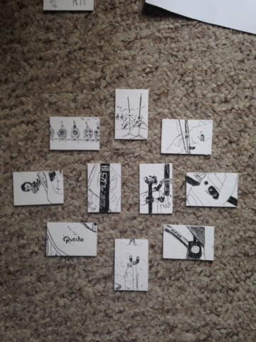 selection of 10 drawings on my living room floor