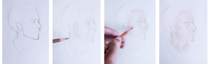 initial sketch and base colour of portrait