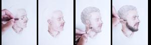 drawing progression of a portrait, mid-way
