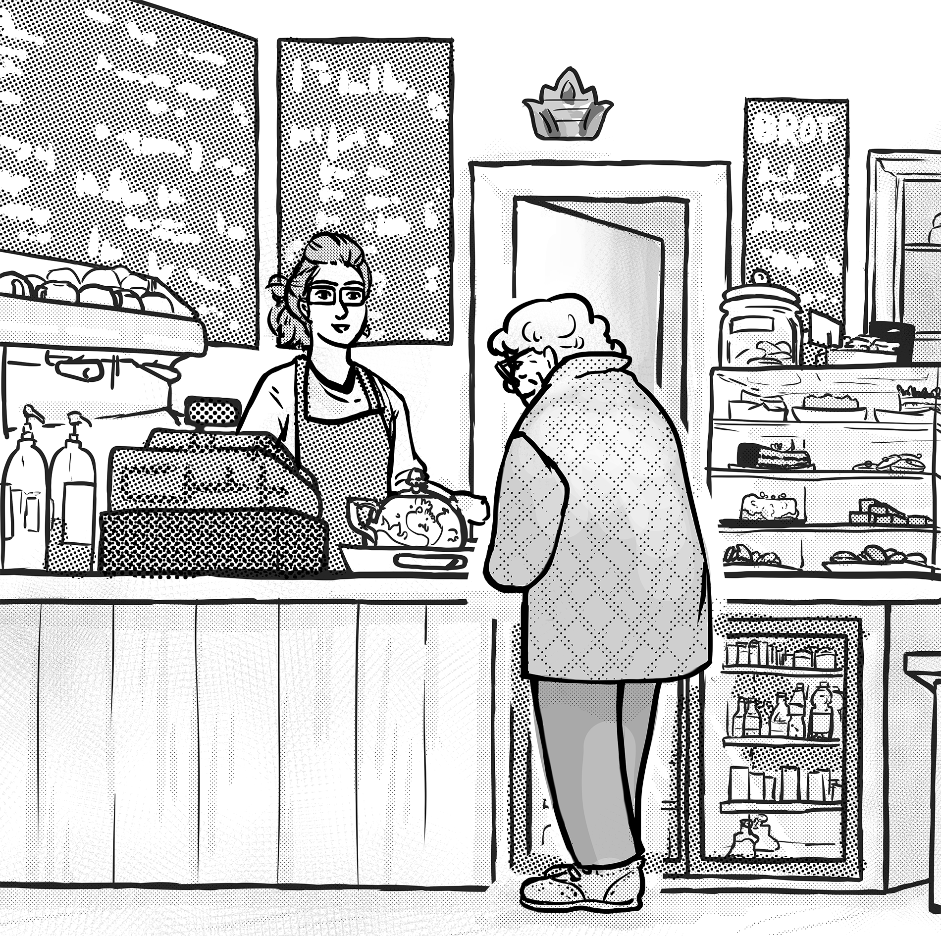 old woman ordering at a café