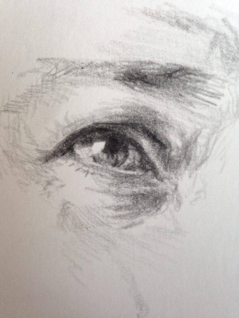 eye drawing oil pencil